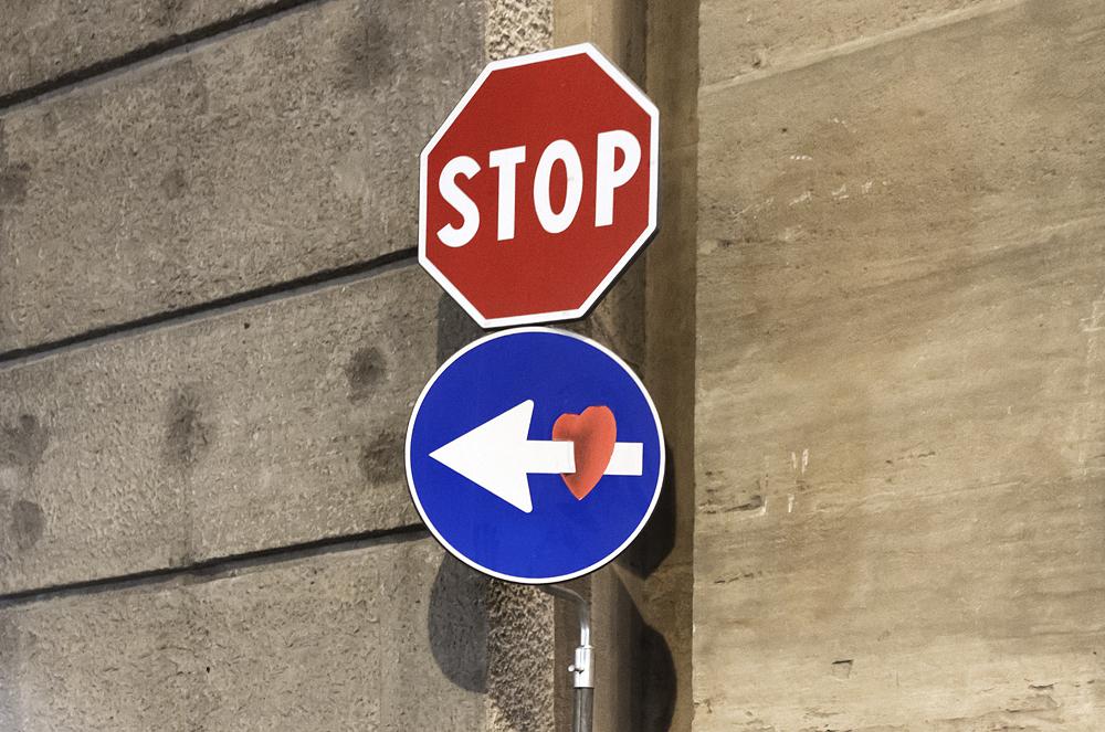 Street Art, Firenze, Clet, Nähe Via della Belle Donne