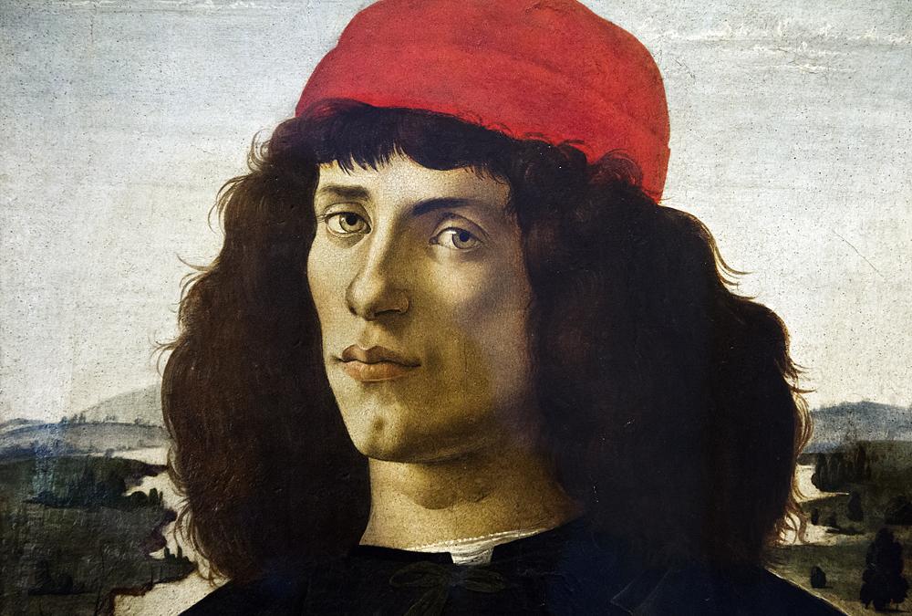 Uffizien, Botticelli, Porträt eines Mannes mit Medaille