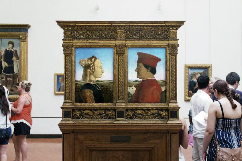 Uffizien, Piero della Francesco, Porträt Frederico Montefeltro und Battista Sforza