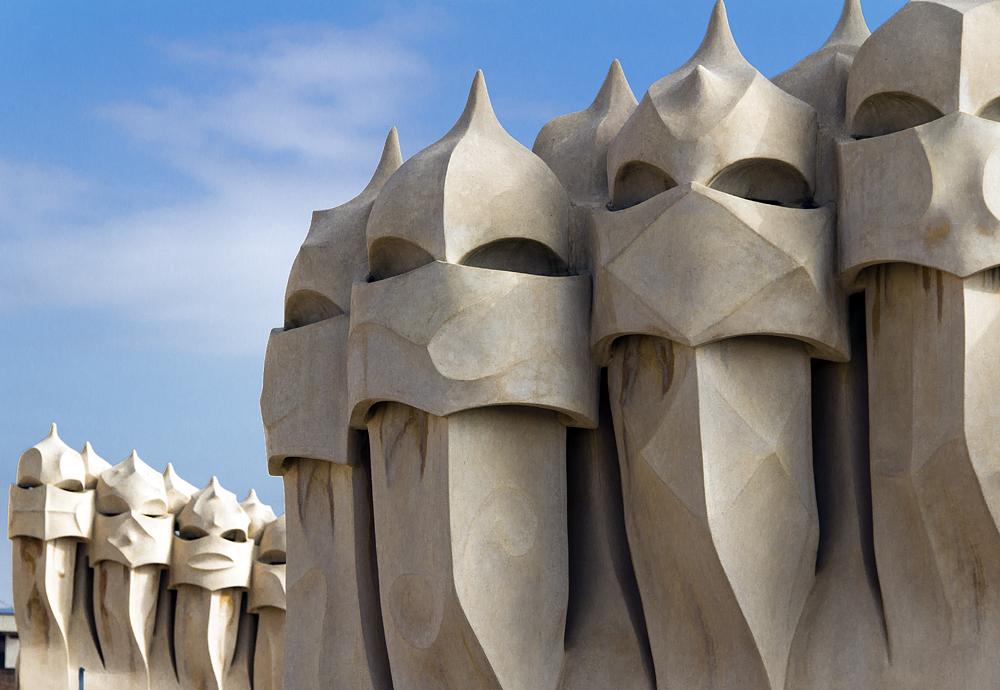 Barcelona, Casa Milà, La Pedrera, Antoni Gaudí, Schornsteine