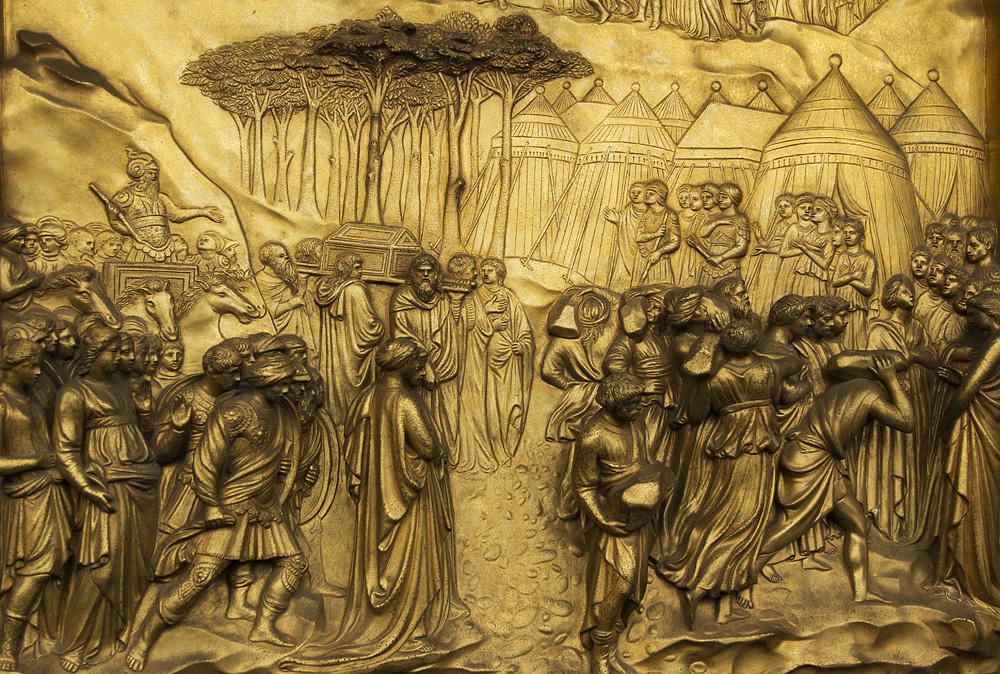 Battistero di San Giovanni, Kopie der Paradiestür von Ghiberti (Josuah erobert Jericho)