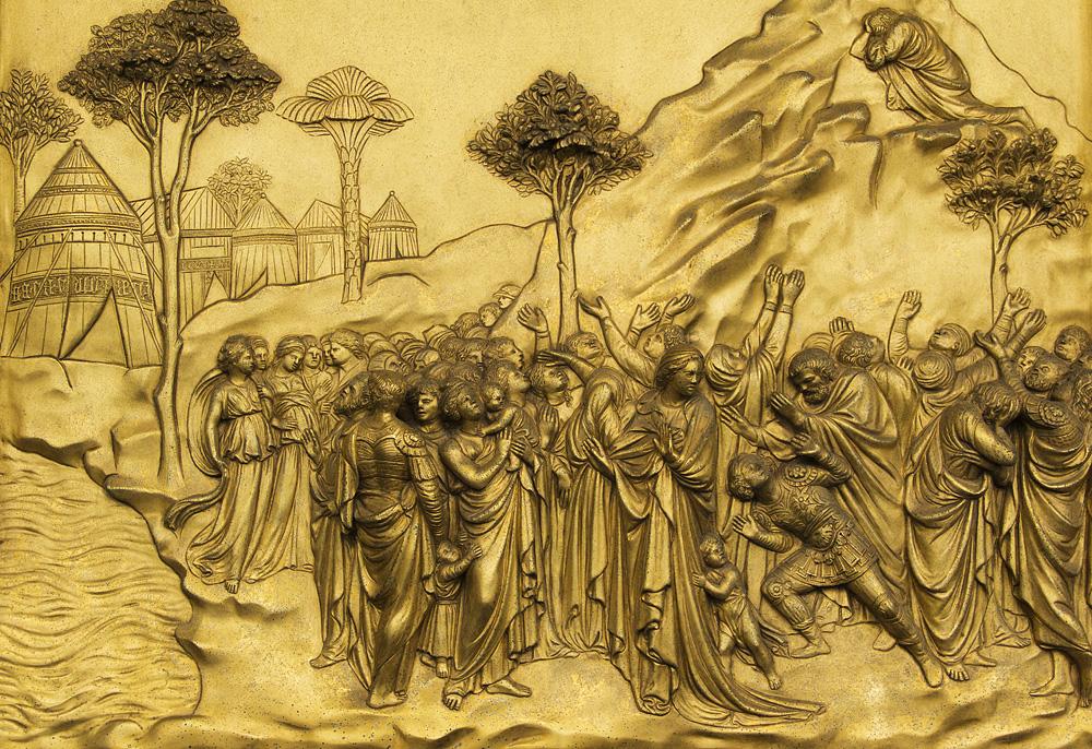 Battistero di San Giovanni, Kopie der Paradiestür von Ghiberti (Moses empfängt die Gesetzestafeln)