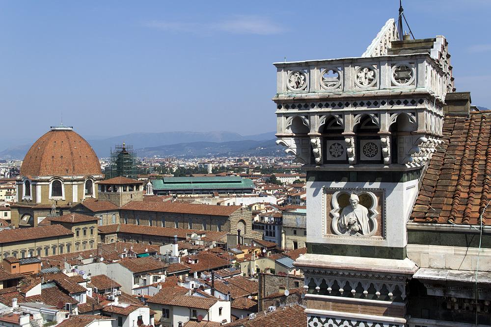 Florence, Dom Santa Maria del Fiore, Blick vom Campanile zu San Lorenzo