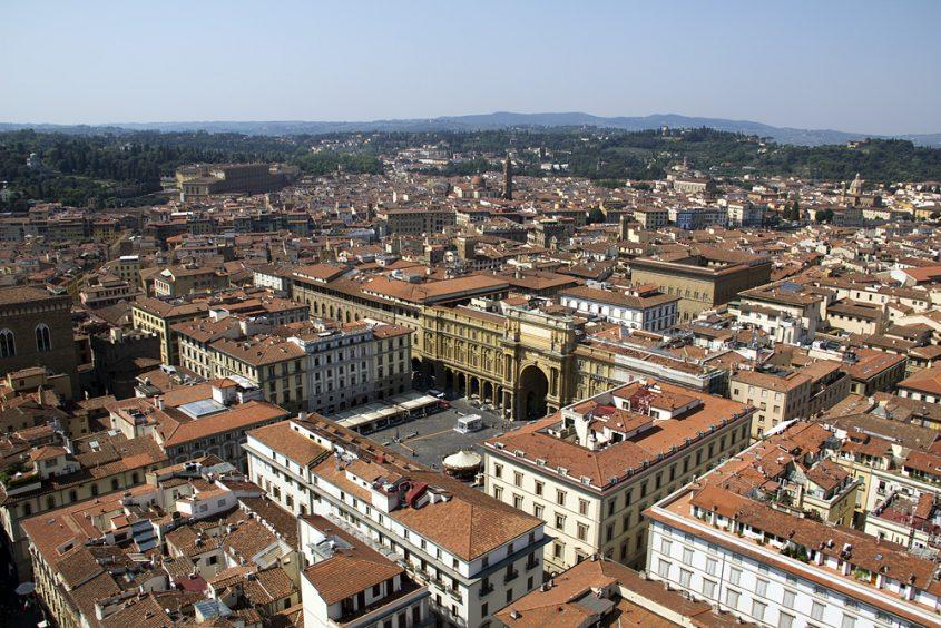 Florence, Dom Santa Maria del Fiore, Blick vom Campanile zur Piazza della Repubblica
