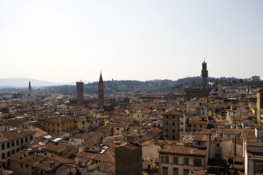 Florence, Dom Santa Maria del Fiore, Blick vom Campanile zum Palazzo Vecchio