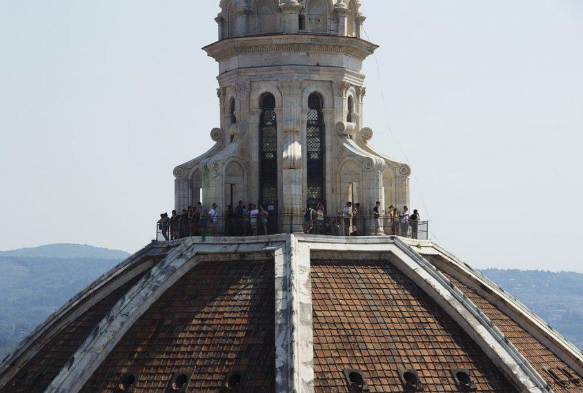 Florence, Dom Santa Maria del Fiore, Blick vom Campanile zur Laterne der Domkuppel