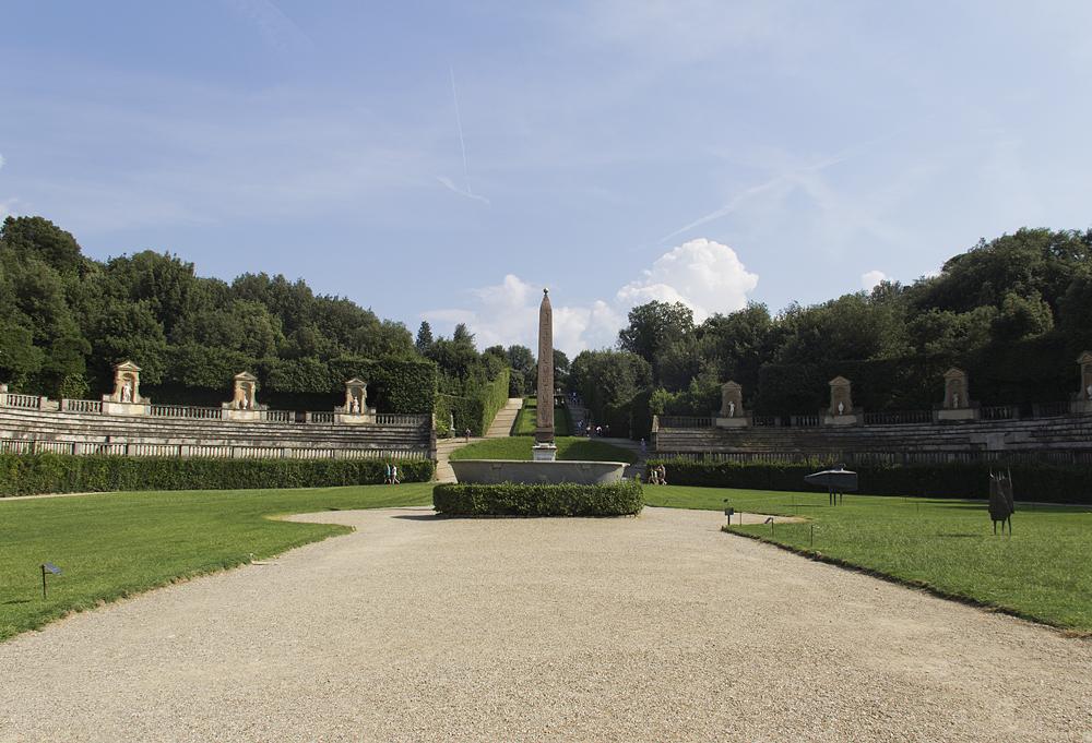 Firenze, Giardino di Boboli, Amphitheater und Obelisk