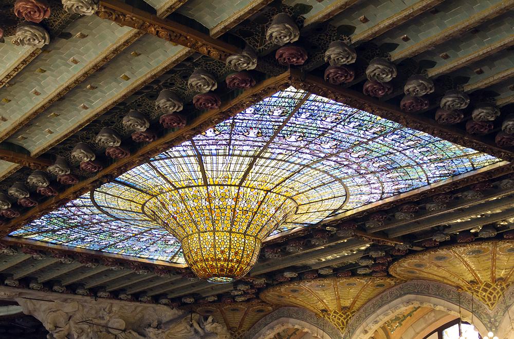 Barcelona, Palau de la Música Catalana, Konzertsaal, Glaskuppel