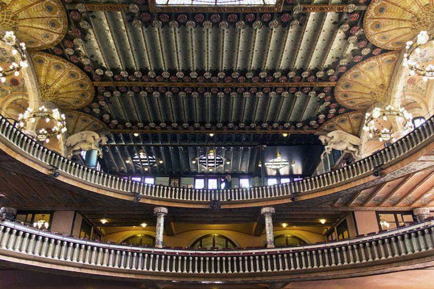 Barcelona, Palau de la Música Catalana, Blick vom Parkett zu den Rängen