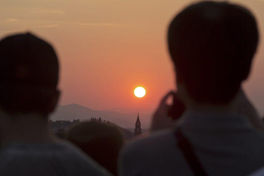 Florenz, Piazzale Michelangelo, Sonnenuntergang, Touristen