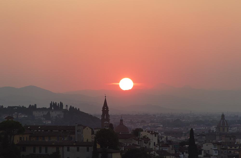 Florenz, Piazzale Michelangelo, Sonnenuntergang,