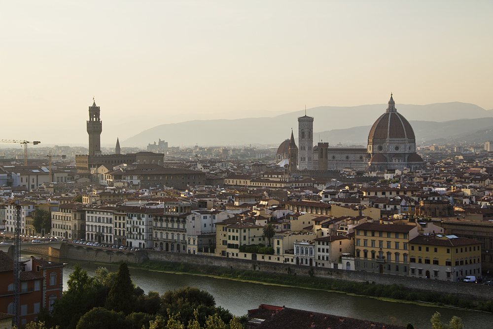 Florenz, Piazzale Michelangelo, Aussicht auf Dom und Palazzo Vecchio