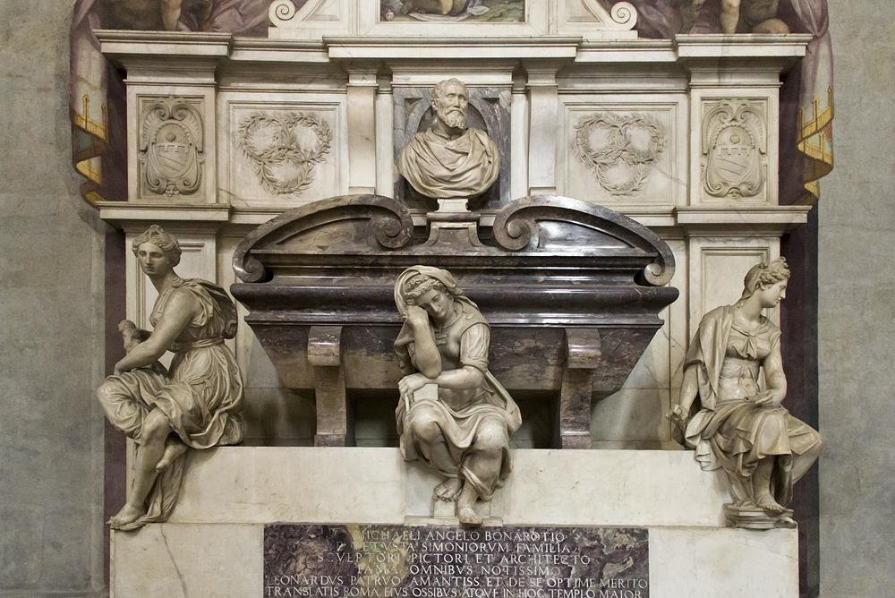 Florenz, Santa Croce, Moument für Michelangelo nach Entwurf von Vasari