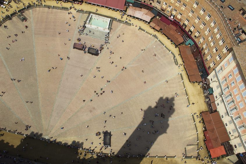 Siena, Blick vom Torre del Mangia auf die Piazza del Campo