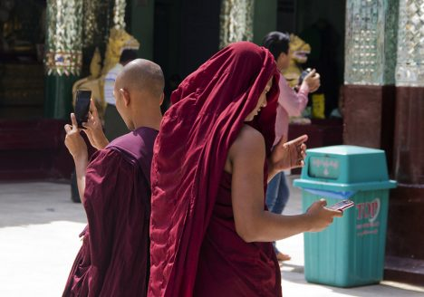 Yangon, Shwedagon Pagoda, Monks
