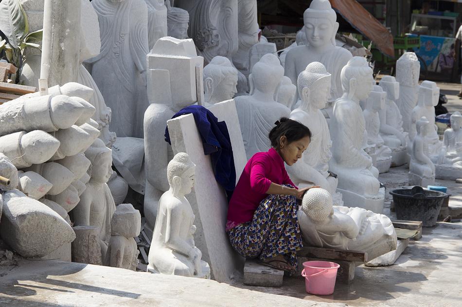 Mandalay, Marmor, Sreinmetze, Mahamuni-Pagode