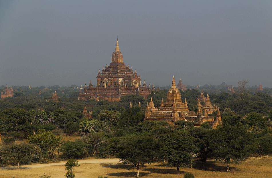 Blick vom Pyathada- zum Sulamani-Tempel