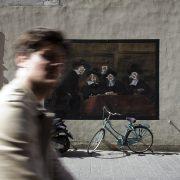 Amsterdam, Warmoesstraat, Mural after rembrandt