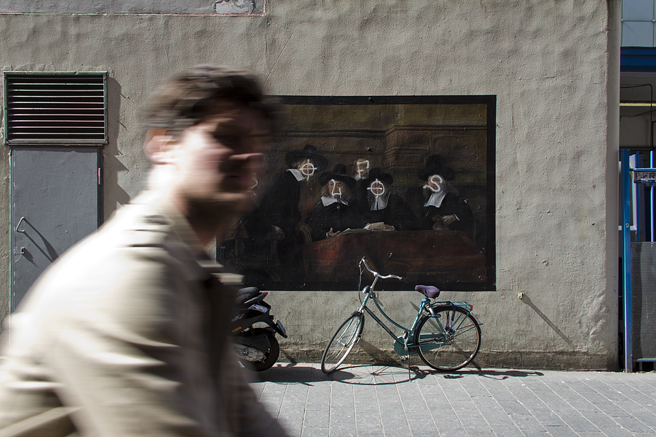 Amsterdam, Warmoesstraat, Mural after rembrandt