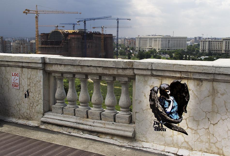 București, Blick von der Dachterrasse des MNAC auf die Baustelle der Kathedrale