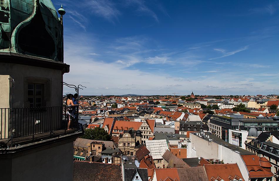 Halle Saale, Blick von einem der Osttürme der Martkirche unser Lieben Frauen