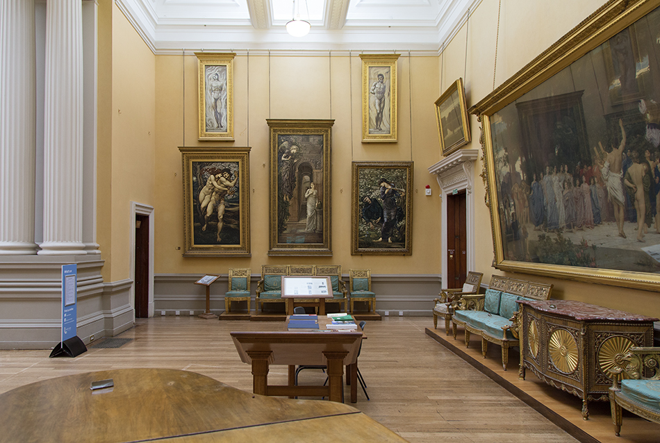 Lady Lever Art Gallery, Paintings by Edward Burne-Jones and Lord Leighton (right)