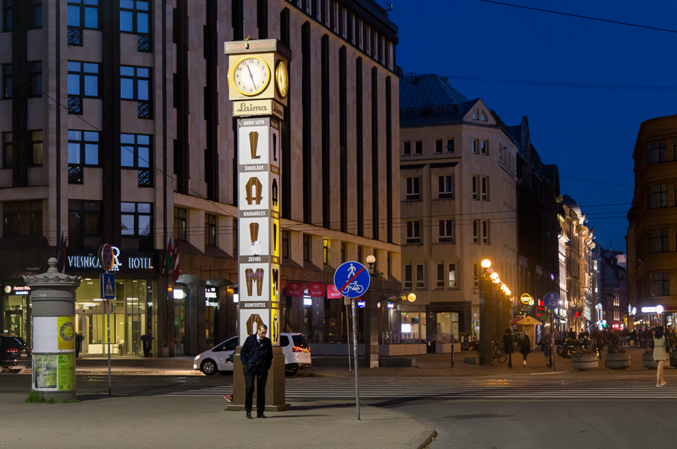 Fabian Fröhlich, Riga, laima Clock at night