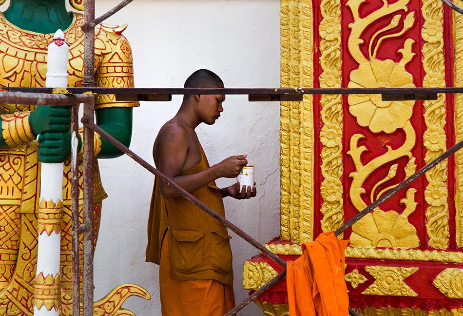 Fabian Fröhlich, Vientiane, Monk at wat Mixai