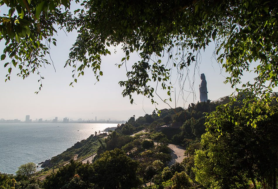 View from Sơn Trà Mountain to the Bay Đà Nẵng and the Statue of Statue of Quan Âm, the so called Lady Buddha