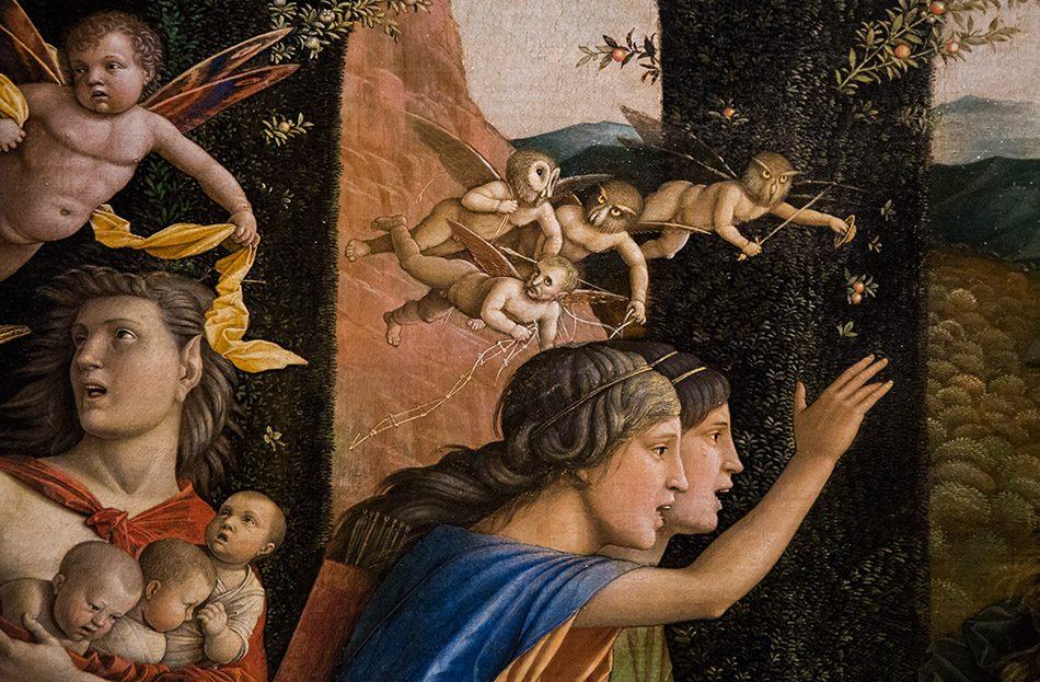 Fabian Fröhlich, Berlin, Gemäldegalerie, Mantegna, Minerva vertreibt die Sünden aus dem Garten der Tugenden