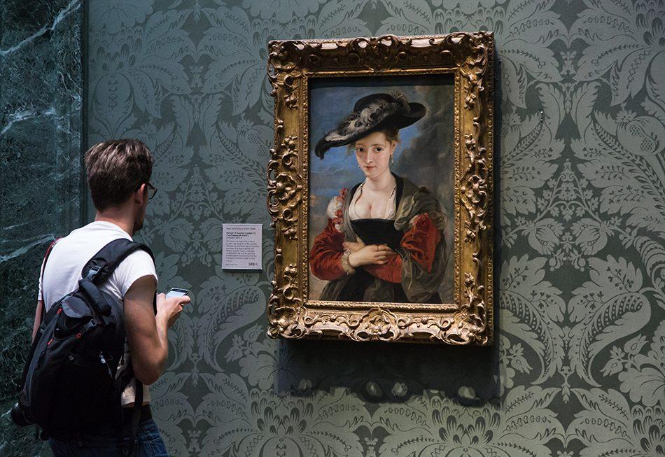 """Fabian Fröhlich, National Gallery, London, Peter Paul Rubens, Portrait of a woman, probably Susanna Lunden (""""Le Chapeau de Paille"""")"""
