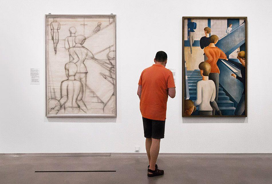 Fabian Fröhlich, Berlinische Galerie, Ausstellung original bauhaus, Oscar Schlemmer, Werkzeichnung für das Gemälde Bauhaustreppe / Carl (Casca) Schlemmer, Bauhaustreppe
