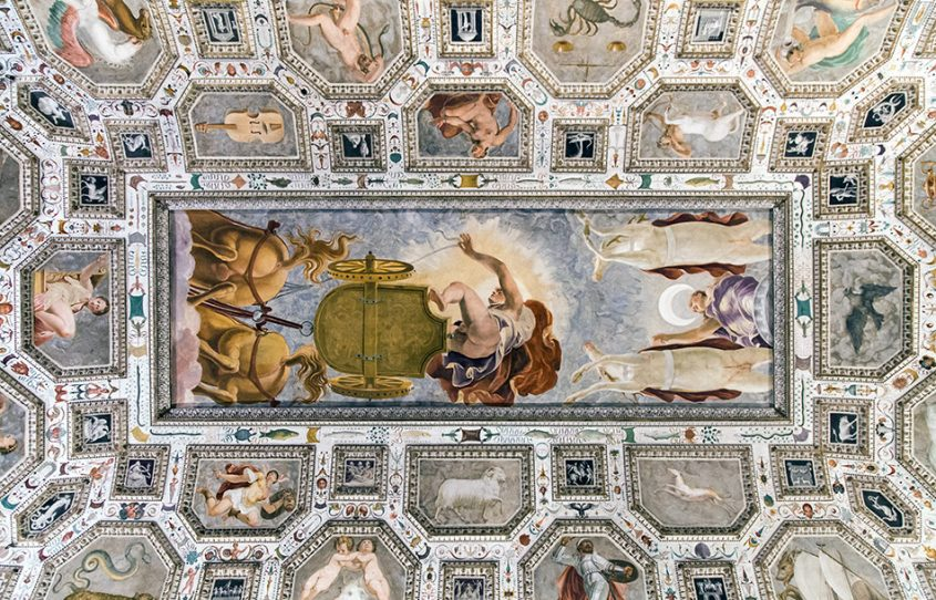 Fabian Fröhlich, Vicenza, Museo civico di Palazzo Chiericati, Sala del Firmamento, Ceiling fresco by Brusasorzi (Domenico Riccio)