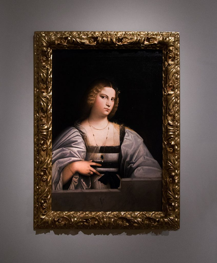 """Fabian Fröhlich, Modena, Galleria Estense, Cariani, Portrait of a woman called """"Violante"""""""