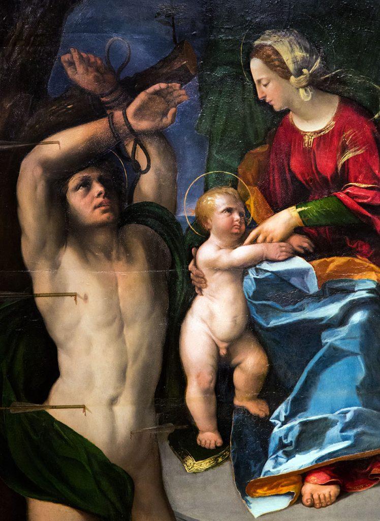 Fabian Fröhlich, Modena, Galleria Estense, Dosso Dossi, Madonna col Bambino e i santi Sebastiano e Giorgio (?)