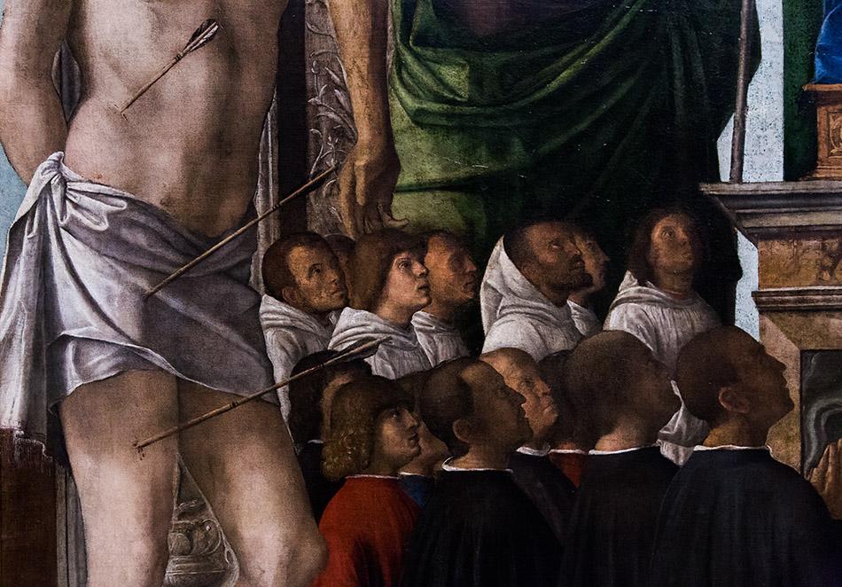 Fabian Fröhlich, Pinacoteca di Brera di Milano, Madonna con il Bambino in trono e i Santi Sebastiano, Giovanni Battista, Maria Maddalena, Rocco e membri della Confraternita di San Giovanni Evangelista Cima da Conegliano