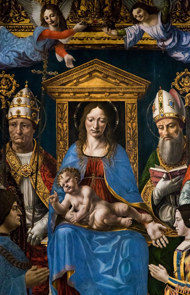 """Fabian Fröhlich, Pinacoteca di Brera di Milano, Madonna in trono con il Bambino, Dottori della Chiesa e la famiglia di Ludovico il Moro (""""Pala Sforzesca"""")"""