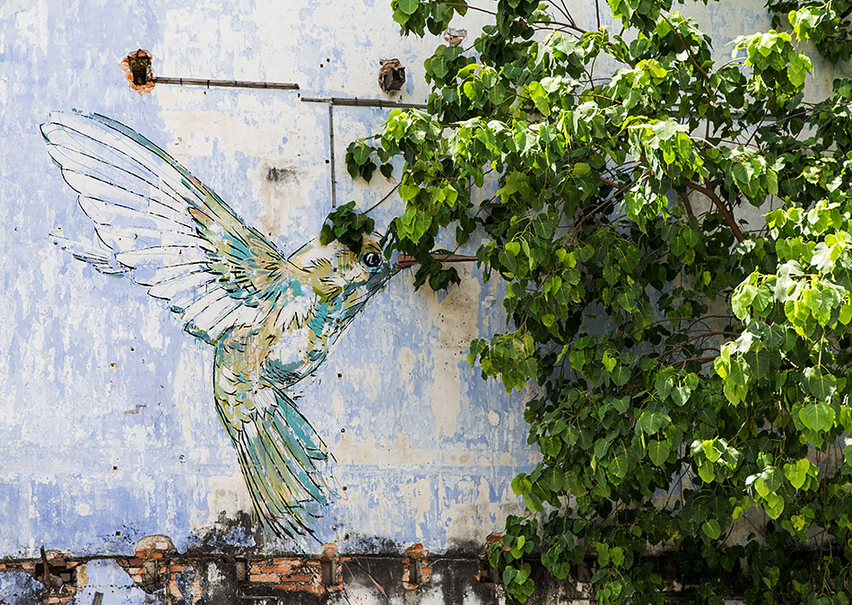 Fabian Fröhlich, Ipoh, Hummingbird, mural by Ernest Zacharevic