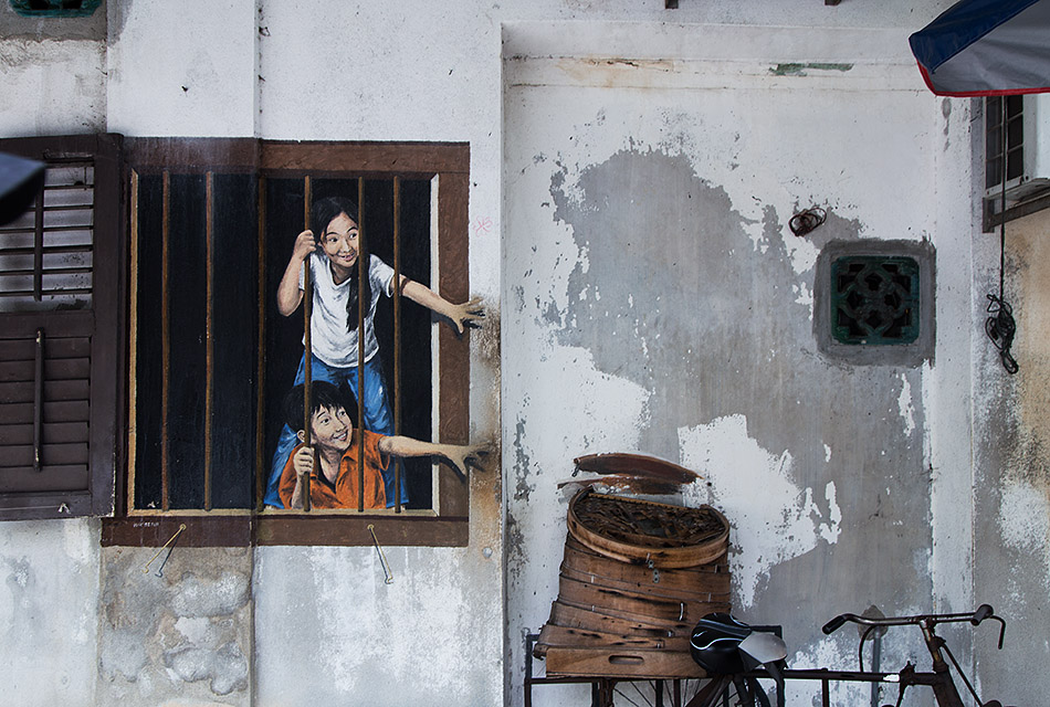 Fabian Fröhlich, Penang, George Town, Children from the Window, mural by Ernest Zacharevic