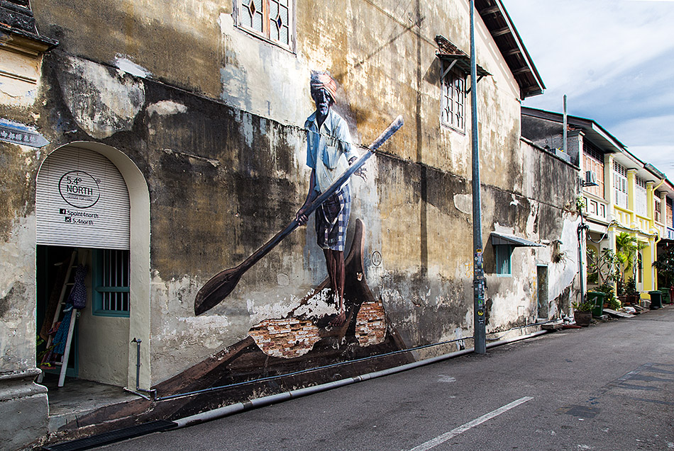 Fabian Fröhlich, Penang, George Town, Indian Boatman, mural by Ernest Zacharevic