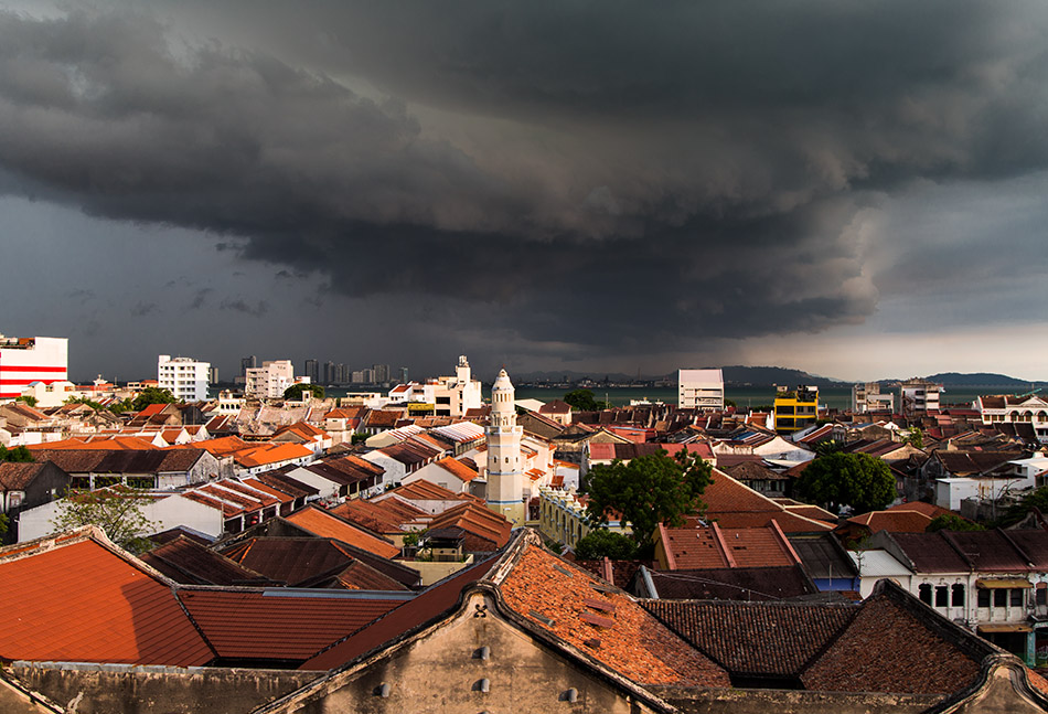 Fabian Fröhlich, Penang, George Town, View from Armenian Street Heritage Hotel to Lebuh Aceh Mosque