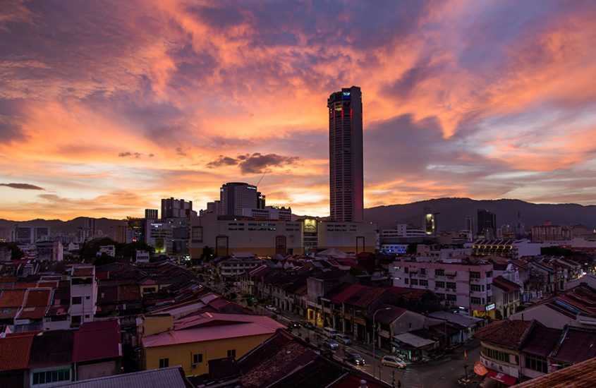 Fabian Fröhlich, Penang, George Town, Sunset with Komtar