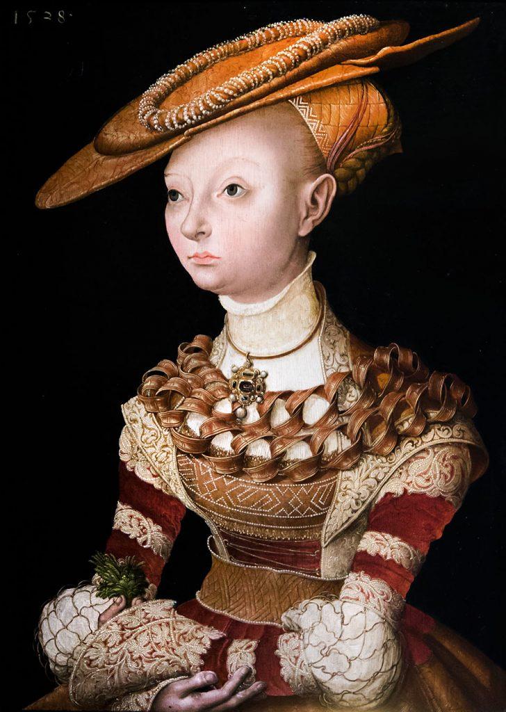 Fabian Fröhlich, Palais Schwarzenberg, Lunas Cranach der Ältere (Schule), Junge Dame mit Rose von Jericho in der Hand