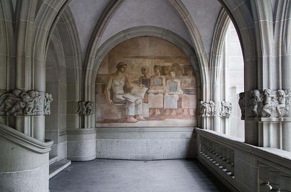 "Fabian Fröhlich, Zürich, Amtshaus IV, mural ""School"" by Karl Walser"