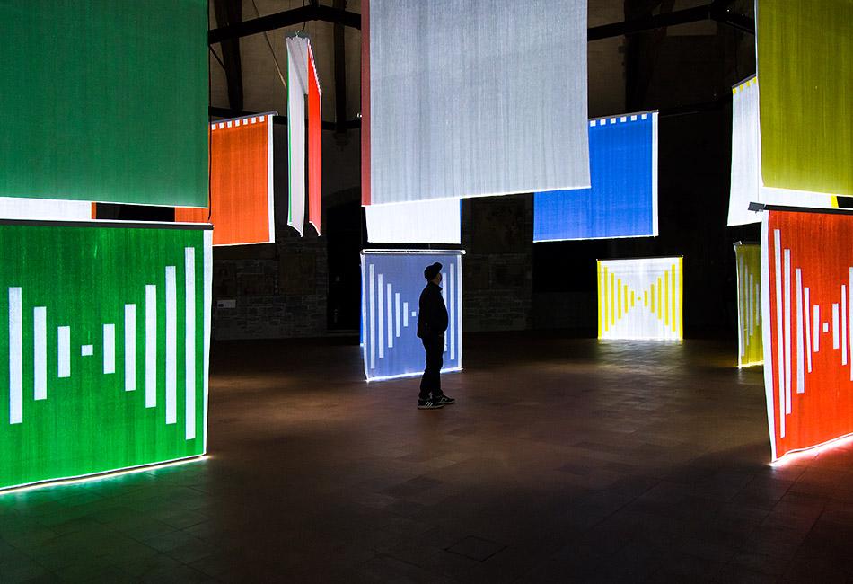 Fabian Fröhlich, Bergamo, Città Alta, Palazzo Ragione, exhibition DANIEL BUREN – Illuminare lo spazio