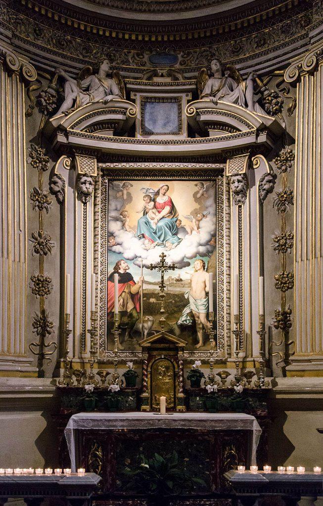 Fabian Fröhlich, Bergamo, Città Alta, Basilica di Santa Maria Maggiore, Gian Paolo Lolmo, The Virgin with Saint Rocco and Saint Sebastian