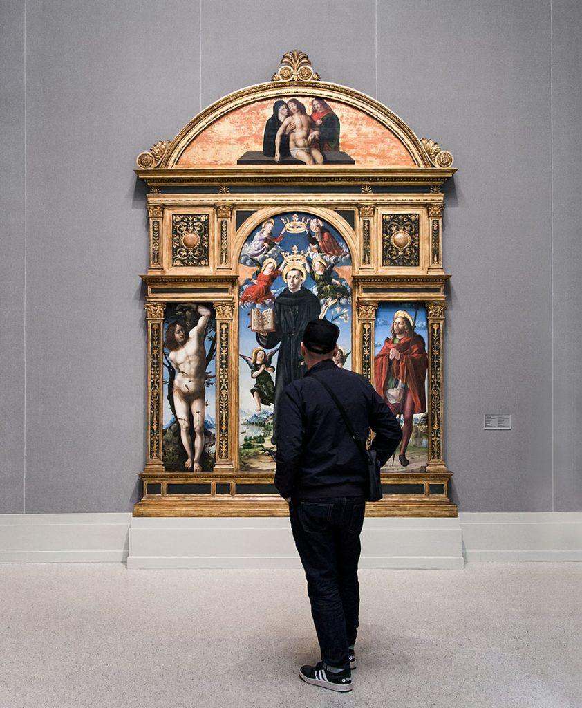 Fabian Fröhlich, Brescia, Pinacoteca Tosio Martinengo, Vincenzo Civerchio, Polyptych with Saints Sebastian, Nicholas of Tolentino and Roch