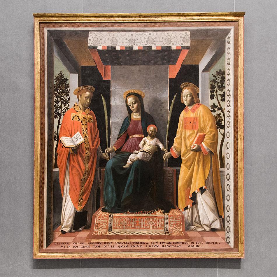 Fabian Fröhlich, Brescia, Pinacoteca Tosio Martinengo, Vincenzo Foppa, Virgin with Child between Saints Faustinus and Jovita