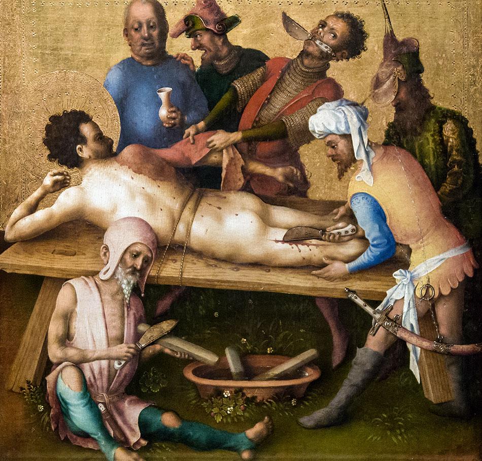 Fabian Fröhlich, Ausstellung Spätgotik, Gemäldegalerie Berlin, Stefan Lochner, Apostelmartyrien, Schindung des Bartholomäus