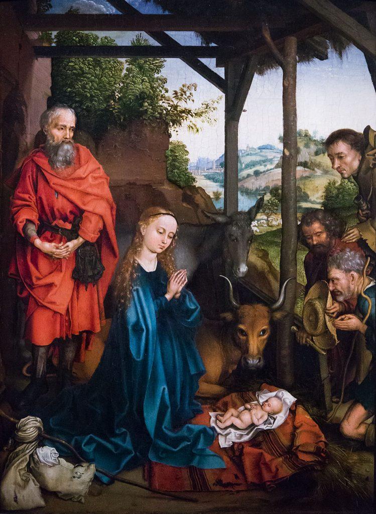 Fabian Fröhlich, Ausstellung Spätgotik, Gemäldegalerie Berlin, Martin Schongauer, Geburt Christi mit Anbetung der Hirten